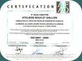 Le certificat delivre par AFAQ attestant de la conformite du systeme de management de la qualite de la fonderie en coquille aluminium et bronze d'aluminium Roux et Gallois selon la norme Iso9001 version 2000